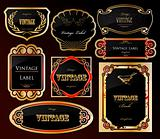Decorative black golden labels . Vector