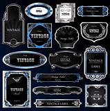 Decorative black silver frames labels . Vector