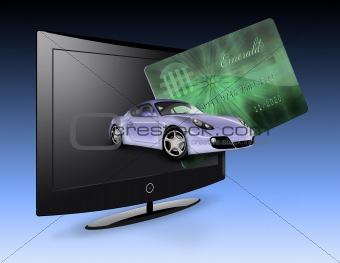 Flat Panel with creditr card and car