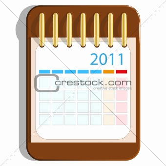 Calendar icon on the wooden base