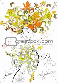 Fashion girl with autumn hair