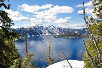 Through the trees of Crater Lake