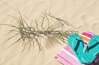 Beach grass towel and flip-flops.
