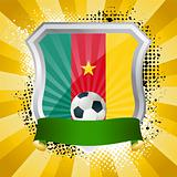 Shield with flag of  Cameroon