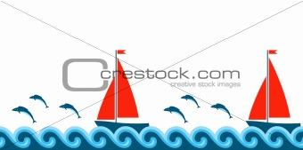 waves, fishes and sailboats border