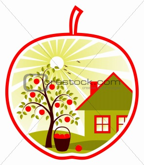 apple tree and cottage in apple