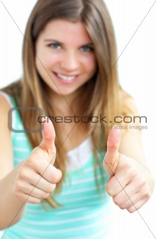 Animated woman with thumbs up smiling at the camera