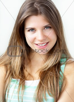 Portrait of an attractive young caucasian woman looking at the c