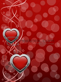 Abstract background with a glossy hearts