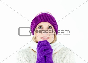 Freezed woman wearing cap and gloves