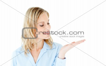 Charming businesswoman presenting isolated