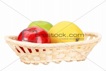 Three apples in basket