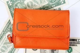 Orange leather wallet