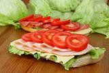 Fresh sandwiches with turkey breast, tomatoes, swiss and salami