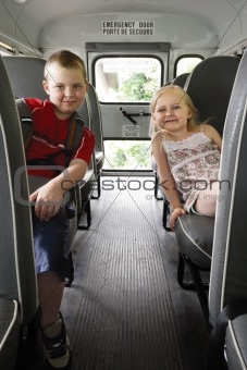 Children sitting in a school bus