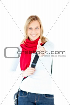 Animated woman with thumb up and scarf smiling at the camera