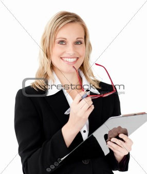 Charismatic businesswoman holding a clipboard