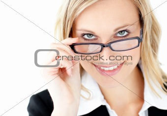 Charismatic young businesswoman smiling at the camera