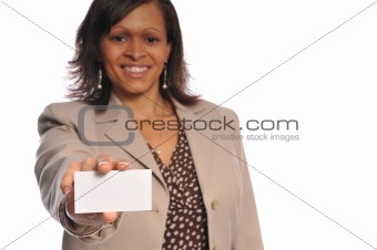 african-american woman with businesscard