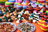 Stall of colored pottery