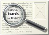 "Magnifying Glass. ""Search"" word on different languages. Vector I"