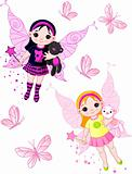 Little fairies flying with butterflies