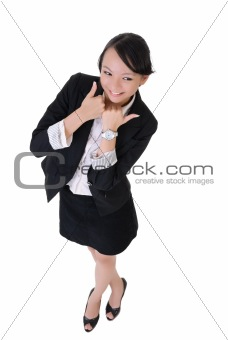 Business woman with joy and smiling expression