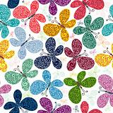 Seamless pattern with butterflies (vector)