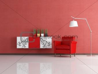 modern red reding room
