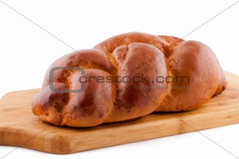Bread roll on white background.