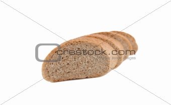 Bread slices isolated on white background.
