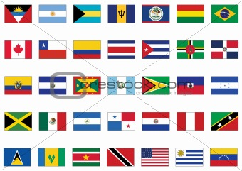 Vector flag set of all American countries.