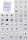 Vector set of apparel care instruction symbols.