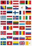 Vector flag set of all European countries.