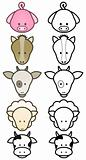 Vector illustration set of cartoon farm animals.