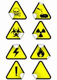 Vector set of chemical warning signs.