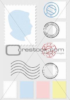 Postage stamp vector illustration set.