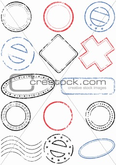 Postmark vector illustration set.