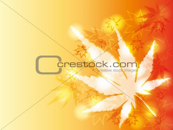Autumn card with chestnut and maple leaves