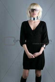 blonde fashion futuristic woman stand