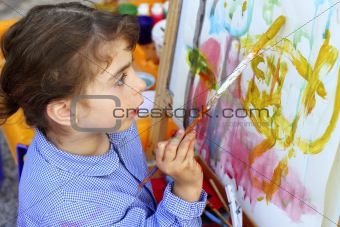 artist little girl children painting abstract picture