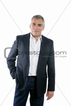 senior businessman portrait black suit over white