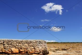 Formentera balearic island stone masonry blue sky