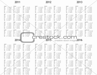 Multi year calendar from 2011 to 2016