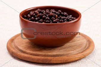 Bowl with boiled grey peas