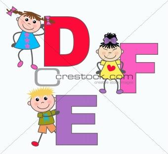 Alphabet letters D E F