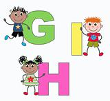 alphabet letters G H I