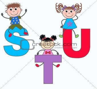 alphabet letters S T U