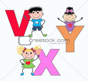 alphabet letters V X Y