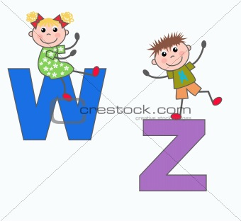 alphabet letters W and Z